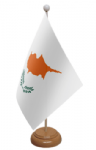 Cyprus Desk / Table Flag with wooden stand and base